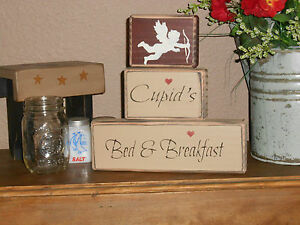 Cupid S Bed And Breakfast With Cupids Picture Primitive Shelf Sitter