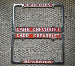 Carr Chevrolet Beaverton Dealership License Plate Frames Set Pair Chrome Metal