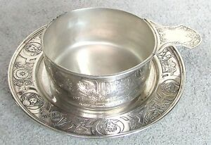 C 1900 Kerr Co Nursery Rhymes Sterling Silver Child Porridge Bowl Underdish