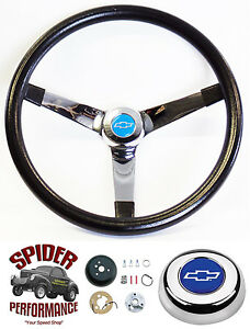 1960 1969 Chevy Pickup Steering Wheel Blue Bowtie 14 3 4 Vintage Chrome Grant