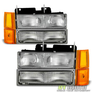 8pc 1994 1998 Gmc Pickup Sierra Suburban Yukon Headlights corner signal Lamps