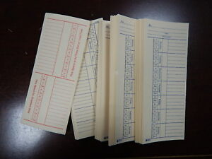 100 Time Cards Punch Employee Payroll Amano Clock 2 Sided Adams 9664a in Bulk