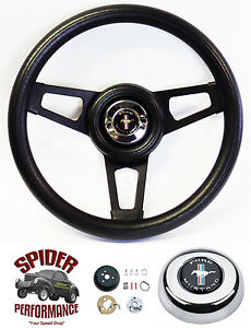 1965 1969 Mustang Steering Wheel Pony 13 3 4 Black Spoke