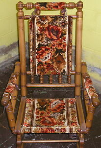Vintage Wooden Spindle American Rocking Chair 1950 S Cloth Back Arms