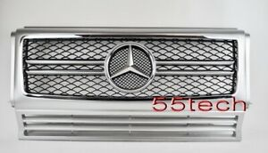 Mercedes G Class W463 Grille Grill G500 G55 90 08 Amg Silver Black Mesh New A2