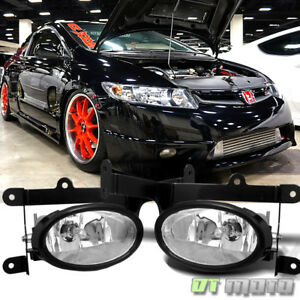 For 2006 2008 Honda Civic Coupe 2dr Bumper Fog Lights Lamps switch Left right