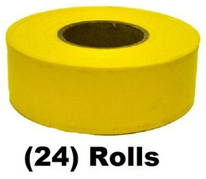 24 Rolls Irwin 65905 300 Ft Yellow Vinyl Flagging Tape Marking Ribbon