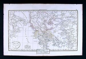 1832 Antique Map By Delamarche Ancient Greece Graecia Athens Crete Italy Sparta