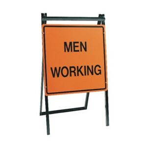 Men Working Folding A frame Stand Road Street Construction Sign 24 X 24