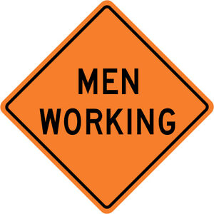 3m Reflective Men Working Street Road Construction Sign 30 X 30