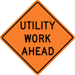 3m Reflective Utility Work Ahead Street Road Construction Sign 30 X 30