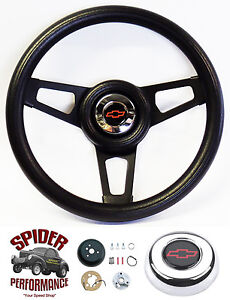 70 73 Blazer Suburban Chevy Pickup Steering Wheel Red Bowtie 13 3 4 Black Spoke