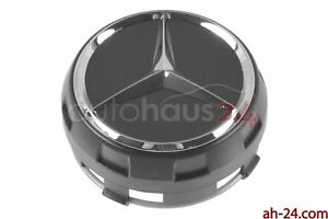 Mercedes 0004000900 Raised 1 One Black Center Cap W Chrome Star Oem Genuine