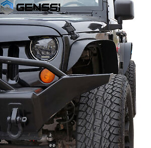 07 17 For Jeep Wrangler Jk Unlimited Flat Textured Style Fender Flares Steel