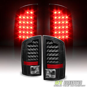 Black 2007 2008 Dodge Ram 1500 07 2009 2500 3500 Led Tail Lights Brake Lamps