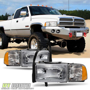 1994 2001 Dodge Ram 1500 2500 3500 Truck Headlights Signal Corner Lamps Pair Set