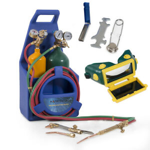 Portable Type Welding Cutting Torch Start Kit Oxygen Acetylene W Tote Tanks