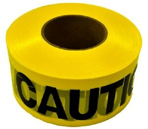 8 Rolls Hanson 19000 1000 x 3 Weatherproof Yellow Caution Tape Ribbon
