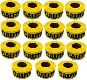 15 Ea Hanson 19000 1000 x 3 Weatherproof Yellow Caution Tape Ribbon