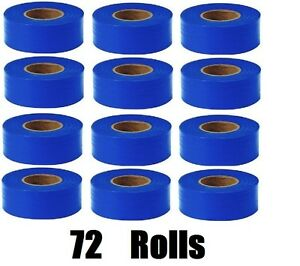 72 Rolls Hanson 17023 300 Ft Blue Vinyl Flagging Tape Marking Ribbon