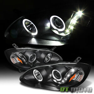For Blk 2003 2008 Toyota Corolla Led Angel Eyes Projector Headlights Left Right