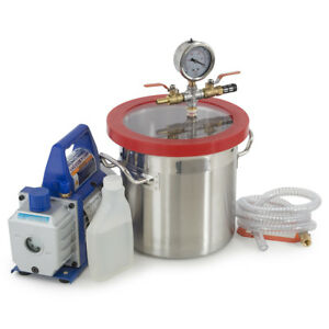 2 Gallons Vacuum Chamber Silicone Degassing Expoxy W 1 3hp 4 Cfm Vacuum Pump