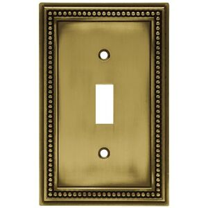171904 Antique Brass Beaded Single Switch Cover Plate $9.50