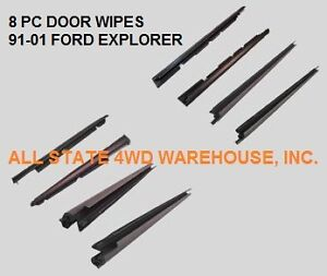 8 Piece Door Belt Wipe Window Weatherstrip Seal Kit 1991 2001 Ford Explorer 4 Dr
