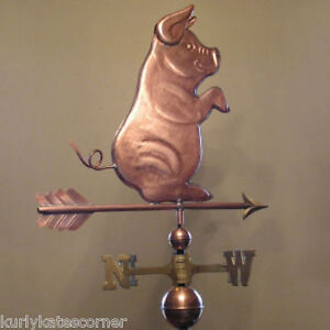 Sweet Sitting Copper Pig With Arrow Weathervane Made In Usa 256
