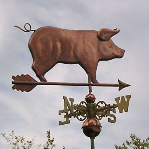 Sweet Fancy Standing Copper Pig With Arrow Weathervane Made In Usa 248f