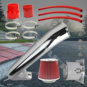 1991 1994 240 Sx Chrome Pipe Cold Air Intake System Kit W 2 75 Red Air Filter