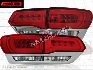 Red Clear 2014 2015 Jeep Grand Cherokee Led Tail Lights 4pcs Set