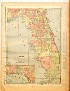 Beautiful Original 1899 Florida Large Color Map 10x14