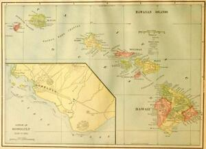 Beautiful Original 1899 Hawaii Hawaiian Islands Large Color Map 10x14
