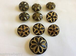 Vintage Old Art Deco Celluloid Decorative Mixed Color Size Lot Of 10 Buttons