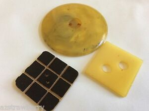 Vintage Lot Of 3 Art Deco Celluloid Large Round Square Buttons