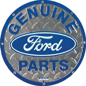 Ford Genuine Parts Round Truck Shop Sign 12 Tin Plate Shop Vintage Collectors