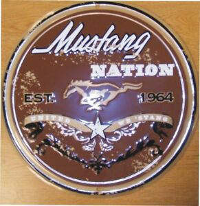 Ford Mustang Nation Round Sign Tag Fast Race Shop Car Parking Truck Cave New