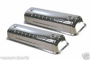 Chrome Steel Valve Covers 5241 Ford Y block V8 272 312 Engines 1954 1964