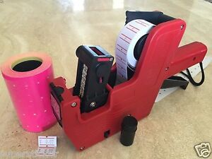 Us Seller Mx 5500 8 Digits Price Tag Gun Labeler 2000 Pink Tag Labels 1 Ink