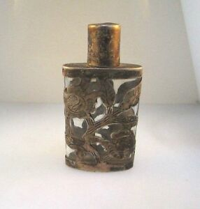 Antique 925 Sterling Silver Mexico Perfume Bottle Scent Floral Leaf Overlay