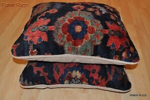 Pair Of Handmade Large Pillow Made Out Of Antique Persian Mahal Rug 22 X22