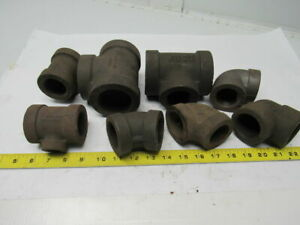 Heavy Thick Walled Black Pipe Mixed Lot Elbows Reducer Tees Lot Of 8