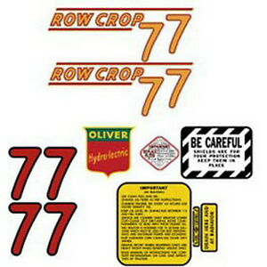 New 77 Red Row Crop Oliver Tractor Complete Decal Set High Quality Lasting Vinyl