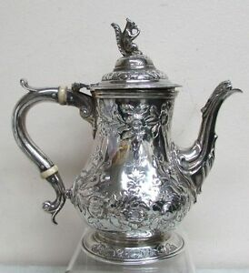 1861 Bailey Co George Sharp Sterling Silver Floral Tea Pot W Squirrel Top