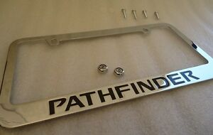 1987 2015 Nissan Pathfinder Chrome Metal License Plate Frame With Logo Caps