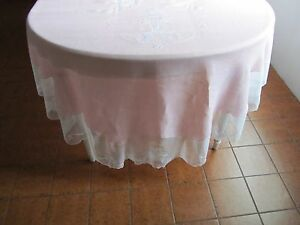 Antique Oval Tablecloth Embroidered Linen Silk Netting Wedding Belle Epoch Paris