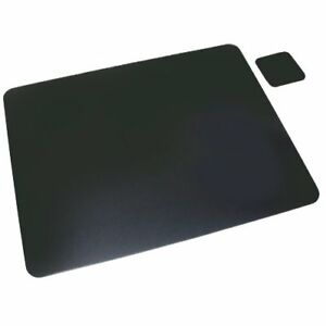Artistic 12 X 19 Leather Desk Pad W Coaster Black Office Supplies Attractiv