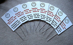 8 Smile You re On Camera Signs 8 x12 W Stakes Security Surveillance Spanish