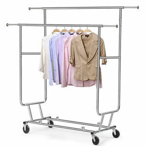 Adjustable Garment Clothing Rolling Double Rail Retail Display Hanger Rack Wheel